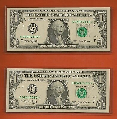 (2) Consecutive 2003 $1 Chicago Star Notes Crisp Uncirculated G05247149-50*
