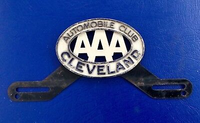 Rare Antique Advertising Aaa Cleveland Automobile Club Sign License Plate
