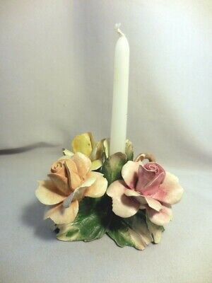 Vintage Capodimonte Multi Rose Flower Candle Holder With Marking