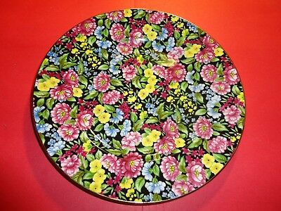 "Bethany Red Yellow Chintz Plate 8.25"" Red Blue Yellow Floral Pattern England"