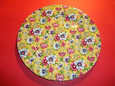 "Yellow Chintz Plate 8.5"" Queens Red Blue All Over Floral Pattern England"