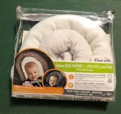 FLEURVILLE White Gray Preemie To Infant Deluxe Head Support For Car Seats Stroll