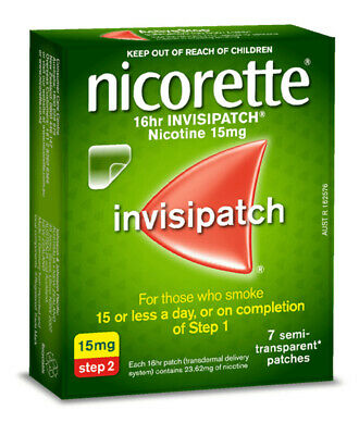 NC Nicorette 16HR Invisipatch Step 2 15mg 7 Patches Quit Smoking Nicotine Patch