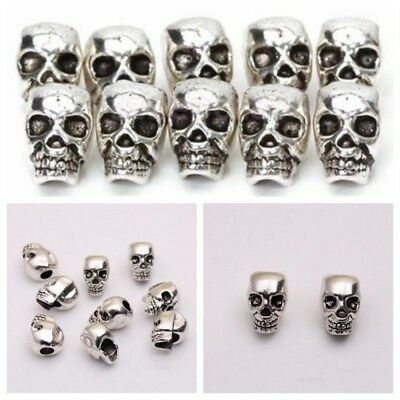 10X Antique Silver Skull Head Spacer Beads Jewelry Bracelet Finding 4mm #AM8