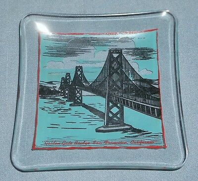 Vintage Glass Tray Golden Gate Bridge San Francisco California Souvenir