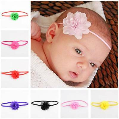 10Pcs Newborn Baby Kids Girls Toddler Chiffon Hair Flower band Headband Headwear
