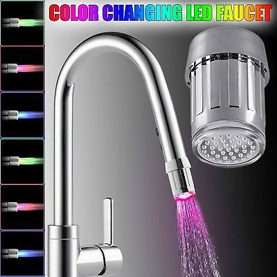 7 Color Changing Glow Shower Waterfall Led Tap Light Water Faucet Sensor Light