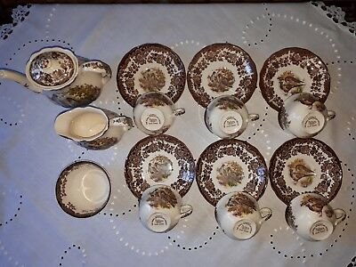 Vtg Royal Worcester Palissy Game Series Coffee Set - 15 pieces 1980s