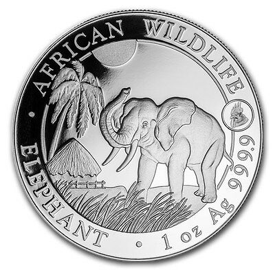 Somalia African Wildlife Elephant Rooster Privy 2017 1 oz .9999 Silver Coin