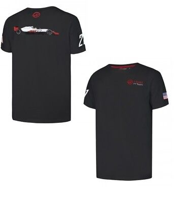 T-SHIRT Tee Formula One 1 Mens Haas F1 Team NEW! USA Flag Car 21 Black