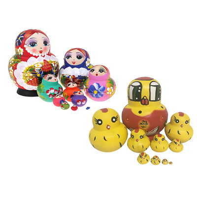 20pcs/pack Wood Girl Russian Nesting Doll Babushka Matryoshka Stacking Dolls