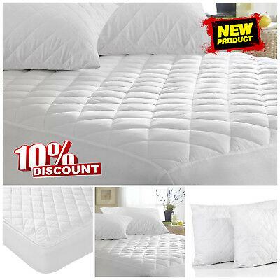 New Quilted Mattress Protector Topper Luxury Fitted Bed Cover Single Double King
