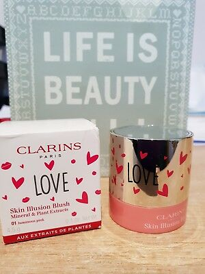 ❤ CLARINS LOVE Skin Illusion Blush With Minerals 01 LUMINOUS PINK 💅 4.5g ❤