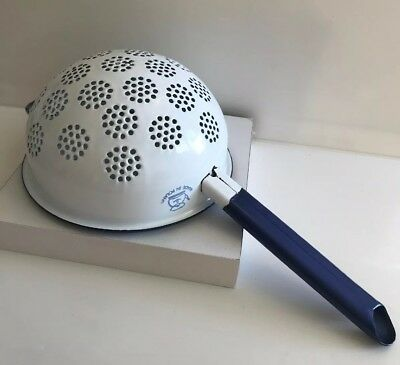 Vintage enamel kitchen sieve colander blue and white KITCHENALIA