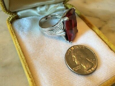 Antique '1940-50 CHUNKY STERLING  ruby paste glass art deco  ring sz 11 1/4