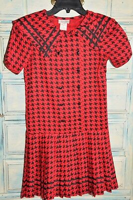 Vintage ILGWU Rare Editions 1970/1980s Red Black Pleated Sailor Dress, Size 12