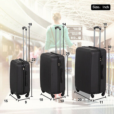 3 Pcs Luggage Travel Set Bag ABS Trolley Suitcase w/ TSA Lock Black Lightweight