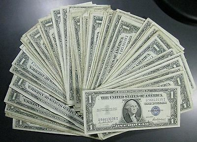 Lot of 25 Silver Certificate Dollar Notes Great for Flea Markets FREE P/H!!