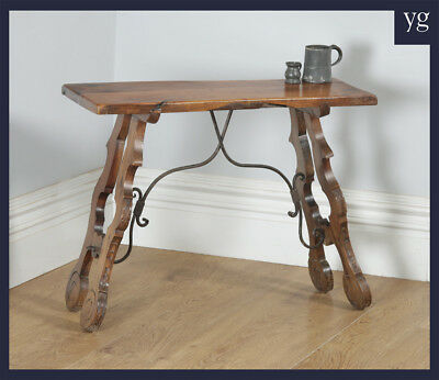 Antique Spanish Basque 19th Century Chestnut Country Side Hall Console Table