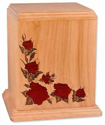 Large/Adult 210 Cubic Inch Inlay Roses Cherry Wood Funeral Cremation Urn