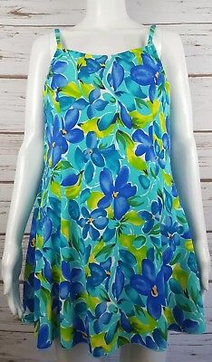 7ccbd3fc938 LL Bean Blue Floral One Piece Swimdress Swimsuit Underwire Size 16 Tummy  Control
