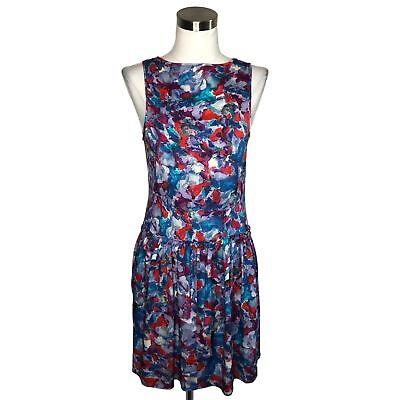d5513f5ed709 N684 THEORY Designer Dress Size 6 Small Blue Purple Floral A-Line Sundress