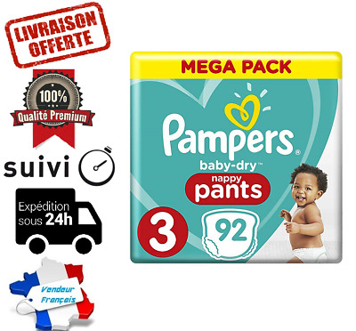 LOT DE 92 COUCHES PAMPERS babby dry NAPPY PANTS TAILLE 3 MEGA PACK 6-11 kg NEUVE