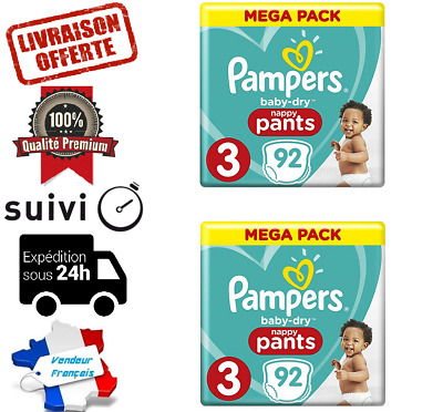 LOT DE 184 COUCHES PAMPERS NAPPY PANT baby-dry TAILLE 3 MEGA PACK 6-11 kg NEUVE