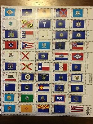 US 1633-1682 STATE FLAGS sheet of 50 MNH