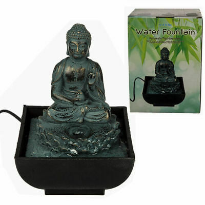 Table Sitting Buddha Water Fountain Desktop Feature Calming Decor Indoor - 17cm