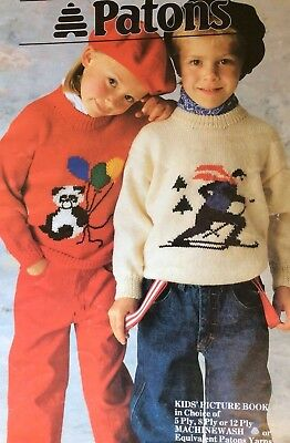 Patons Knitting Pattern Book 964 Kids Picture Book Jumpers 5 8 12 Ply