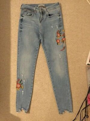 d5d2313eacd ZARA BASIC BLUE Denim Embroidered jeans Size EUR 34 - £6.50 ...