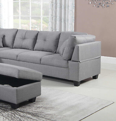 Light Grey Color Fabric Tufted Upholstered Sectional Ottoman Sofa Chaise Pillows