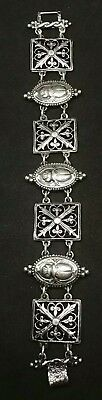 Antique Victorian Egyptian Revival Scarab Beetle Sterling Silver Bracelet