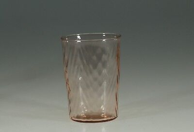 Vintage Deco Pink Glass 10 oz Water Tumbler Herringbone Pattern c.1930