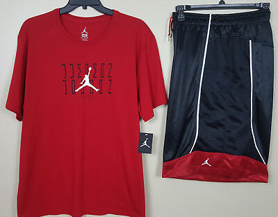 aa4c1d5a6a7 Nike Air Jordan Xi Retro 11 Outfit Shirt + Shorts Red Black Bred Rare (Size