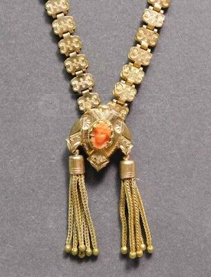 Victorian Gold Plated Box Chain with Finely Carved Coral Cameo