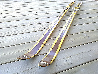 Vintage Bonna 195cm Waxable Hickory Wooden Cross Country Skis 3 Pin Binding