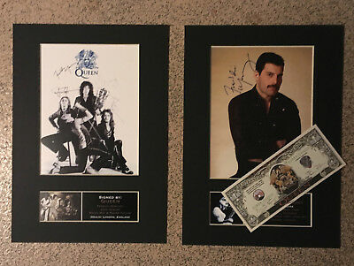 Freddie Mercury + Queen *RARE DELUXE SET*Signature/Autographed Photos + BANKNOTE