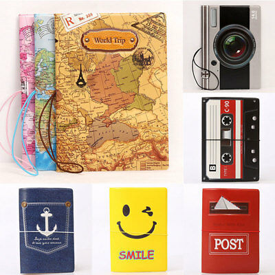 Vintage World Map Cute Passport Cover Travel ID Holder Wallet Protector Case