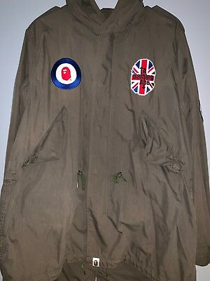 e43f6e8f BAPE A BATHING APE Olive Green Parka Jacket Vintage LARGE Good Condition  RARE