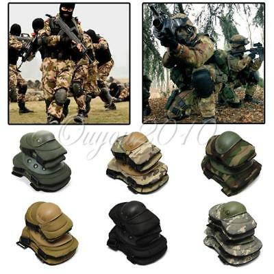 Military Knee Elbow Protector Tactical Combat Protective Pads Set Gear Sports CS