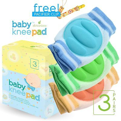Baby Knee Pads for Crawling (3 Pairs) - Adjustable Breathable Waterproof Safet..