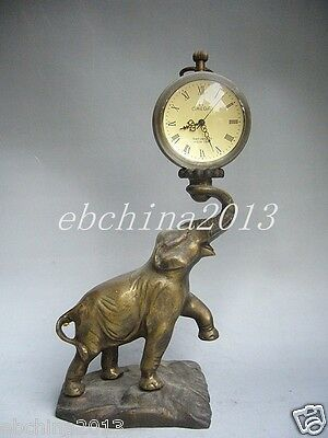 Chinese folk collection of pure copper statue of an elephant mechanical clock