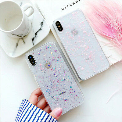 For iPhone 11 Pro XS Max XR X 8 6 7+ Clear Glitter Foil Soft Rubber Cover Case
