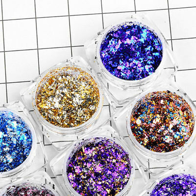 Nail Art Glitter Powder Flakes Holographic Chrome Pigment Manicure Decoration