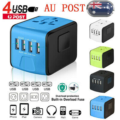 4 USB World Wide Universal International Travel Adapter Multi Plug Charger Power