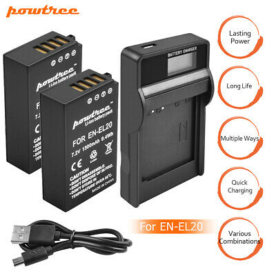 2 x Battery +Charger Kit for Nikon EN-EL20 ENEL20A Coolpix P1000 Camera Black PE