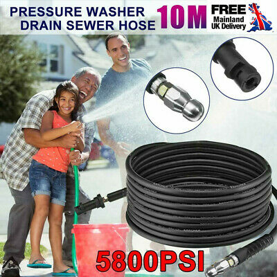 10M Pressure Washer Sewer Drain Cleaning Hose w/ Jet Nozzle For Karcher K Series