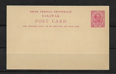 E4562 Sarawak Pre Stamped Postcard W/ Red Charles Booke Rajah 3C Unused